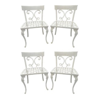 Neoclassical Regency Style Cast Aluminum Patio Chairs - Set of 4 For Sale