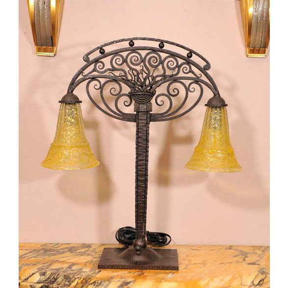 Yellow Art Deco Table Lamp with Glass by Daum For Sale - Image 8 of 8