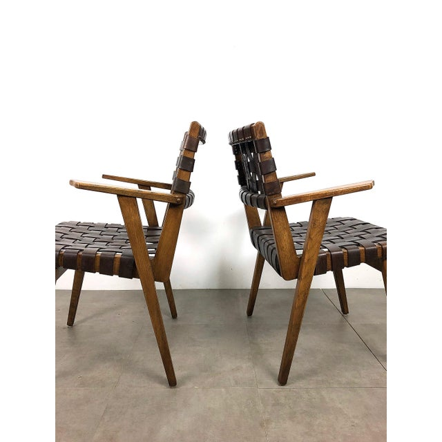 Pair of Mid-Century Modern Leather Webbed Chairs For Sale - Image 9 of 10