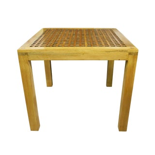 Vintage Mid Century Lattice Top Parsons Table For Sale
