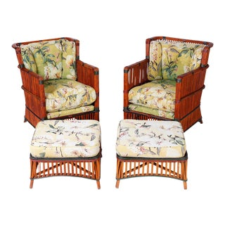Rattan Armchairs with Ottomans - Set of 4 For Sale