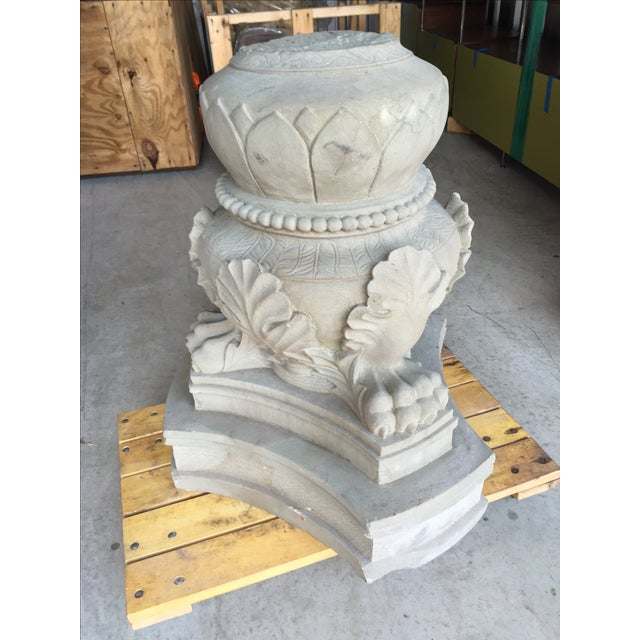 Carved Stone Claw Foot Pillar Base - Image 2 of 9