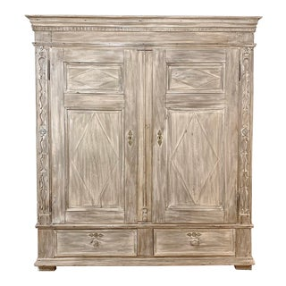 19th Century Swedish Whitewashed Armoire For Sale