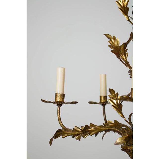 Italian Italian Five Light Gold Leaf Chandelier For Sale - Image 3 of 7