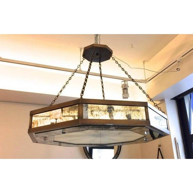 Brown Andre Hayat Large Octagonal Chandelier in Patina Bronze and Oxidized Mirror For Sale - Image 8 of 8
