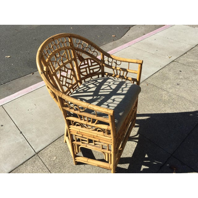 Tan 4 Chinese Chippendale Bamboo Chairs and Small Table For Sale - Image 8 of 8