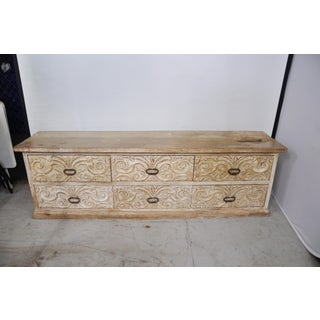 Vintage Indian Boho-Chic Carved Wood Credenza Preview