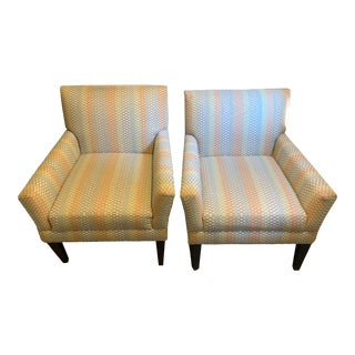 Striped Colorful Accent Chairs - a Pair For Sale