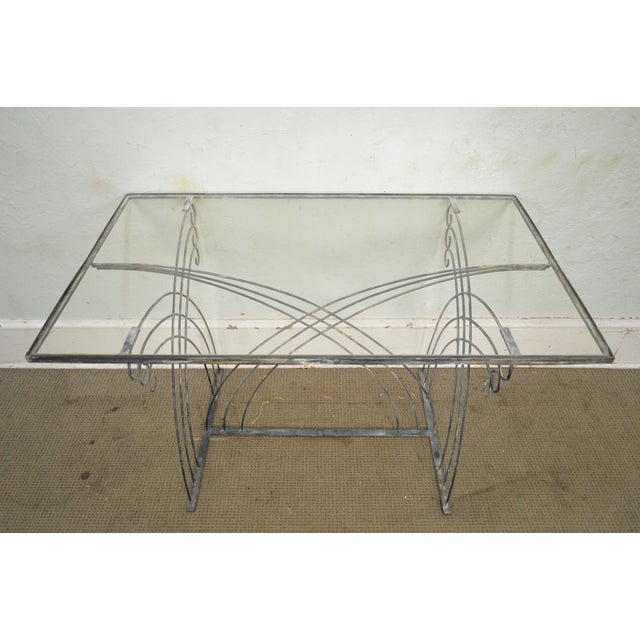 Art Deco Vintage Studio Wrought Iron Glass Top Patio Console Table For Sale - Image 9 of 13