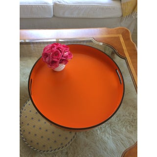 "Hermes Orange Inspired 21"" Round Bar Serving Tray Preview"