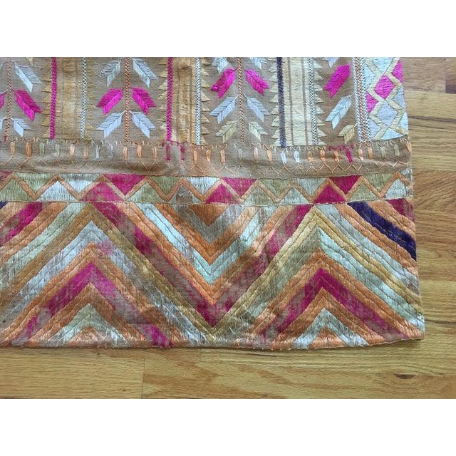 Antique Indian Phulkari Fabric Panels - A Pair - Image 8 of 12