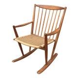Image of Danish Modern Corded Seat Teak Rocking Chair For Sale