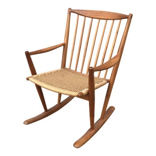 Danish Modern Corded Seat Teak Rocking Chair For Sale