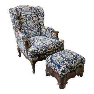Antique French Chinoiserie Chair & Ottoman
