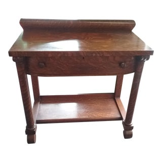 Vintage Traditional Tiger Oak Large Stand With Drawer Buffet Server Sideboard For Sale