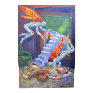 Contemporary Chicano Surrealist Painting Angels Dreams For Sale