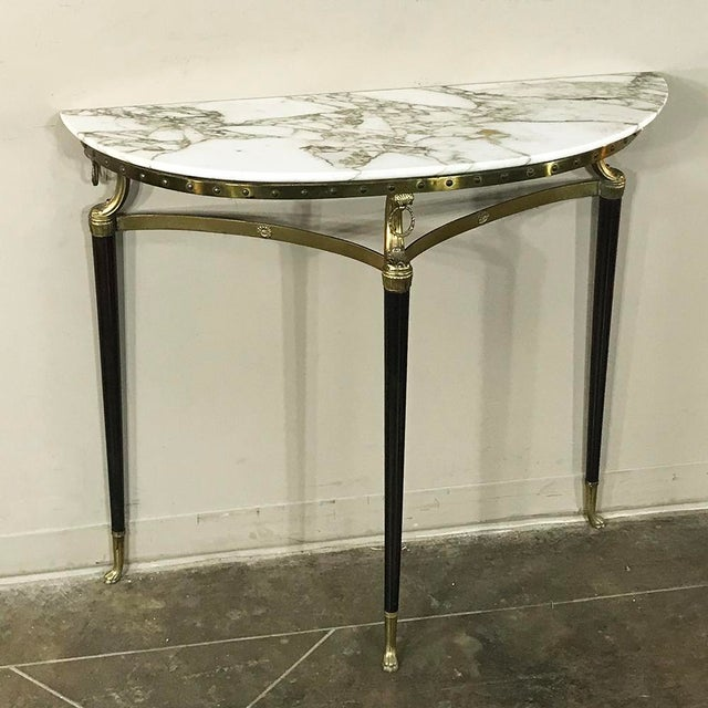Mid-Century Modern Mid-Century Inlaid Marble & Brass Demilune Console For Sale - Image 3 of 12