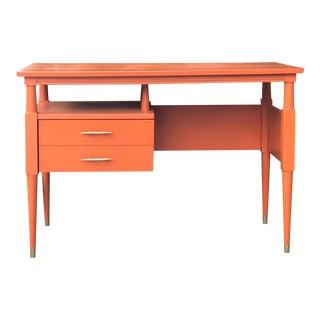 Mid-Century Modern Rustic Orange Desk For Sale