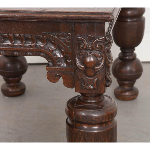 Brown French 18th Century Elizabethan-Style Hand-Carved Oak Center Table For Sale - Image 8 of 13