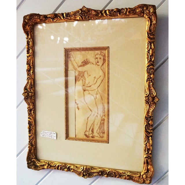 17th Century Antique Duca DI Frigia Infant Cupid Italian Pen and Ink Framed Drawing For Sale - Image 4 of 7