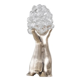 """Small Baobab"" table lamp with a cast bronze base and hand blown glass shade For Sale"