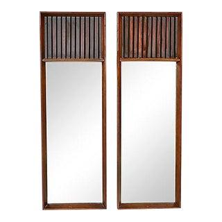 Lane Furniture Walnut & Rosewood Mirrors For Sale