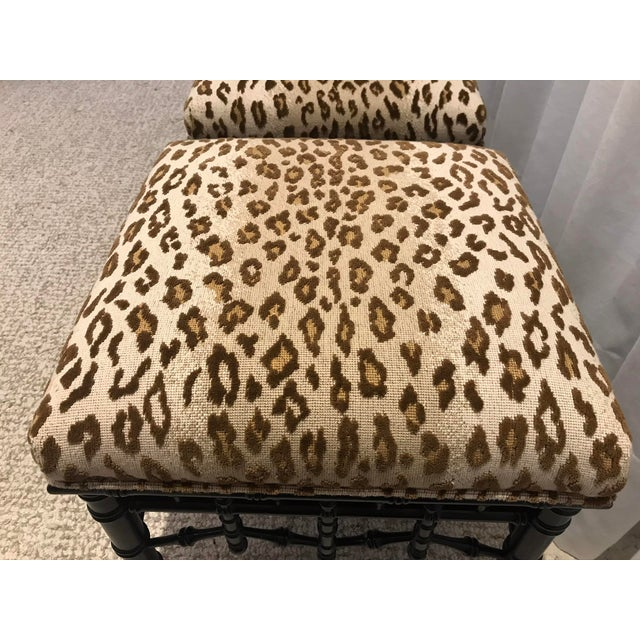 Faux Bamboo Foot Stools with Leopard Upholstery - a Pair For Sale - Image 4 of 13