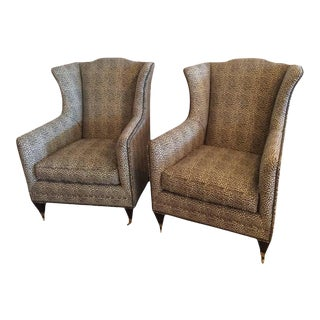 Henredon Vintage Wingback Animal Print Chairs - a Pair