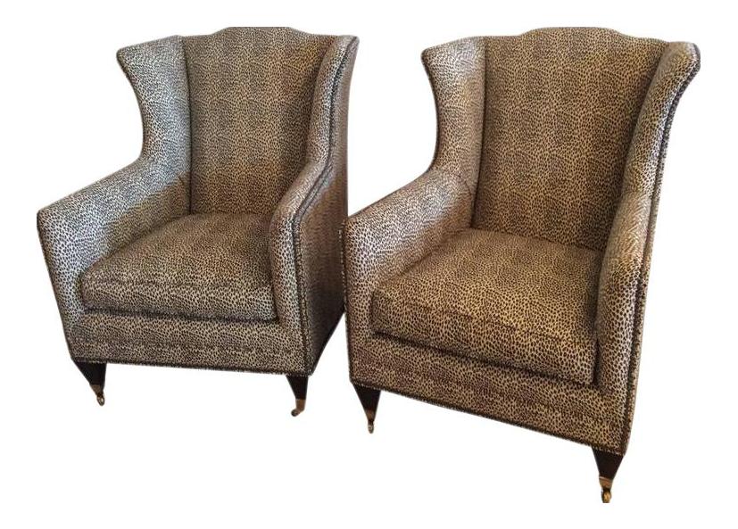 Henredon Vintage Wingback Animal Print Chairs   A Pair