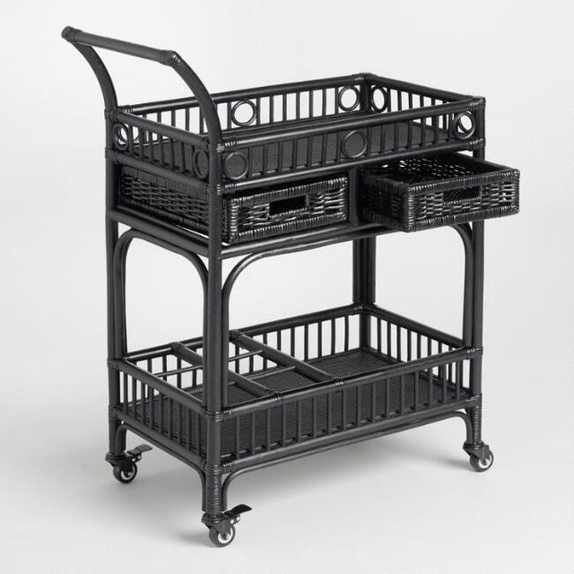 Black Rattan Bar Cart - Image 3 of 4