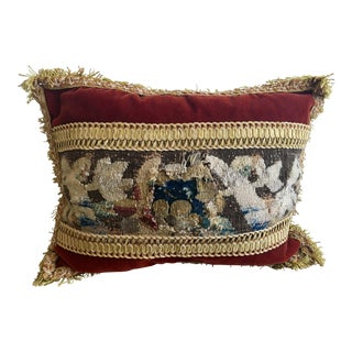 1900's Abusson Tapestry Panel With Mohair Velvet Accent Pillow and Fringe For Sale