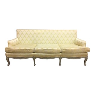 French Country Old Green Painted 3 Seat Sofa For Sale
