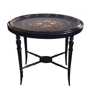 19th Papier Mâché Hand Painted Oval Tray Table W/ Mother of Pearl Inlay 22.5' H For Sale