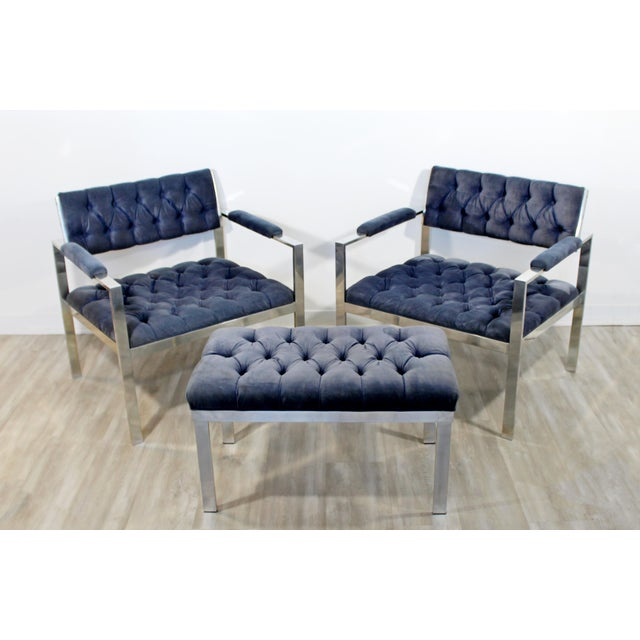 1970s Vintage Harvey Probber Mid Century Modern Chrome Lounge Chairs & Ottoman - Set of 3 For Sale - Image 12 of 12