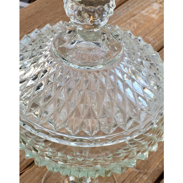 Hollywood Regency Vintage Indiana Glass Diamond Point Candy Dish For Sale - Image 3 of 4