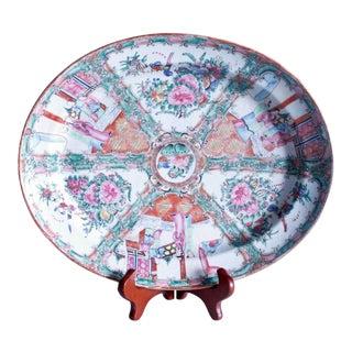 19th Century Rose Medallion Oval Porcelain Platter For Sale
