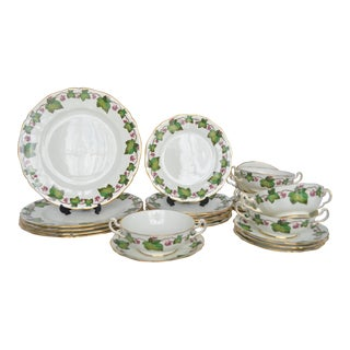 1950s English Traditional Adderley Ivy Dinner Set - 6 Person