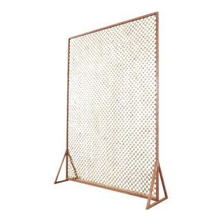 Modern Iron Screen Sculpture With Arabesque Design For Sale