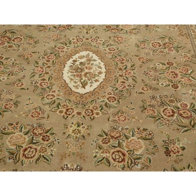 Large Vintage Persian Style Beige Floral Rug - 8'x10' - Image 4 of 11