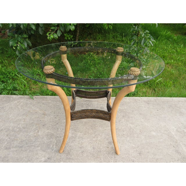 """Nice solid and sturdy faux horn/antler round side table measuring roughly 25"""" tall, 33.5"""" in diameter across the glass..."""