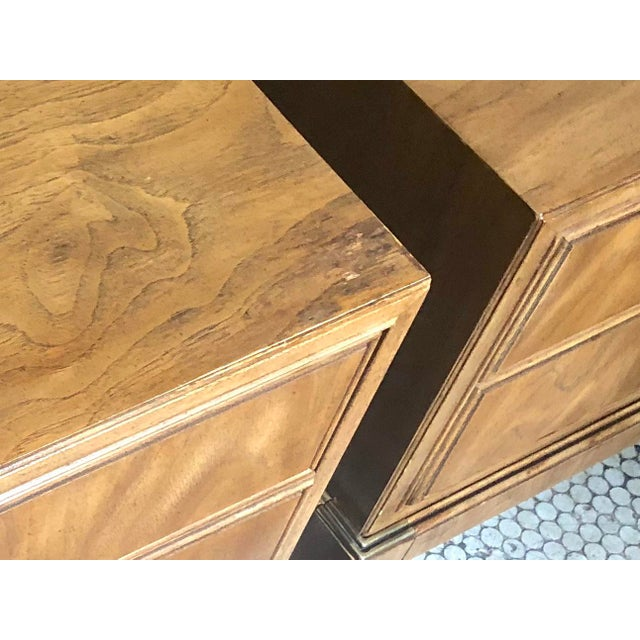 Drexel Maple & Brass Campaign Nightstands - a Pair For Sale - Image 9 of 12