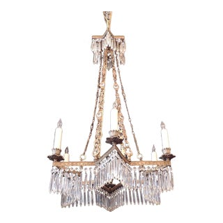 19th C French Régence Crystal and Bronze Chandelier