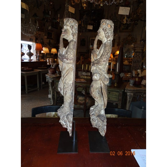 Metal Pair of 18th Century French Architectural Cherubs For Sale - Image 7 of 10