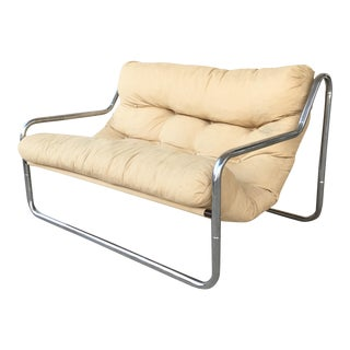 Vintage Tubular Chrome Tan Sofa Loveseat
