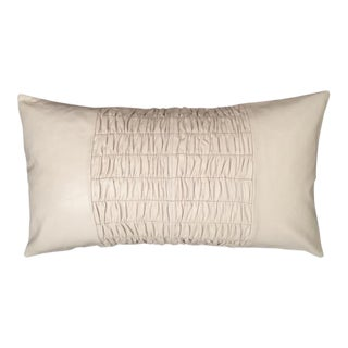 Modern Ruched Leather Pillow For Sale