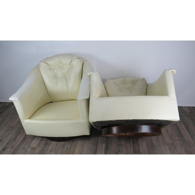 1970s Mid-Century Modern White Vinyl Swivel Chairs - a Pair For Sale - Image 10 of 13