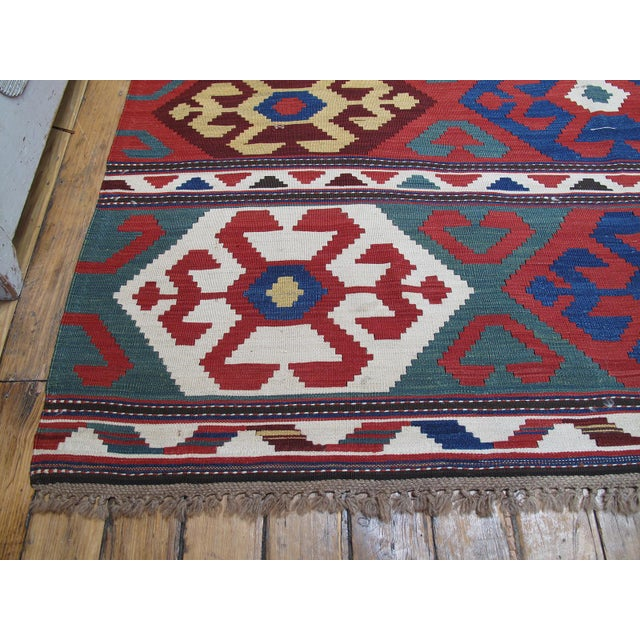 """Primary Colors,"" Antique Kazak Kilim For Sale - Image 10 of 10"