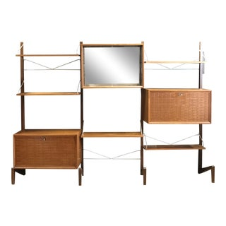 Danish Mid-Century Modern Freestanding Modular Wall Unit- 3 Sections For Sale
