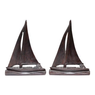 Early 20th c. Steel Sailboat Bookends - A Pair