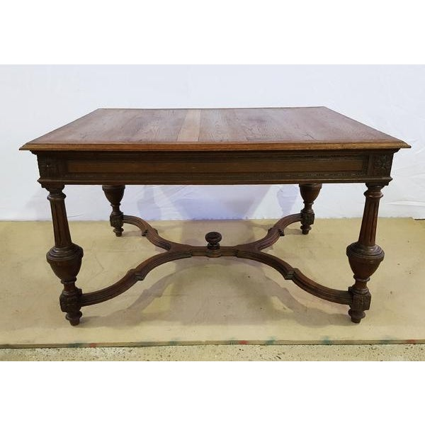 Rectangular Carved Antique French Jacobean Style Oak Dining Table For Sale - Image 12 of 12
